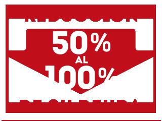 Reducción de sus deudas del 50% al 100%